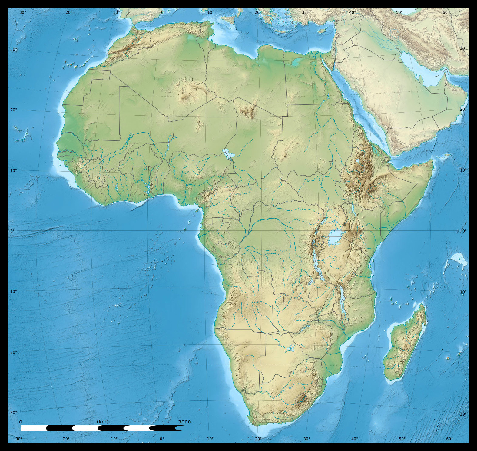 Africa Continent Detailed Physical And Political Map Detailed