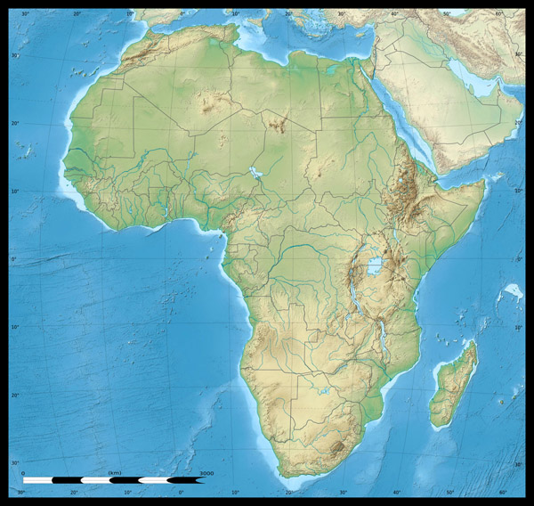 Africa continent detailed physical and political map.