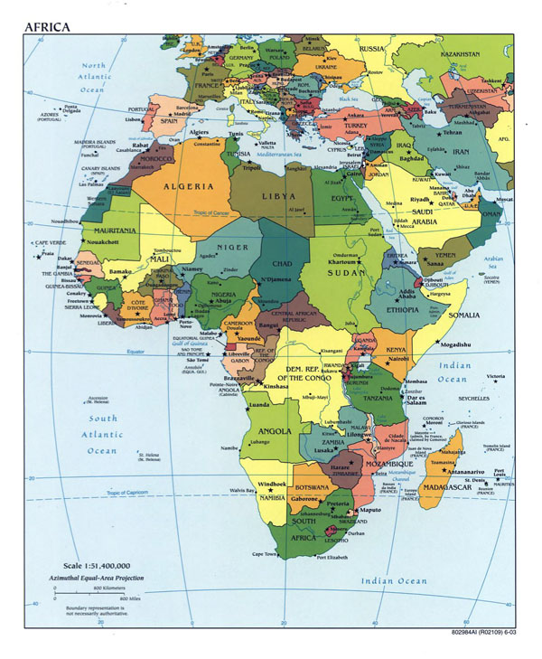 Detailed political map of Africa - 2003.