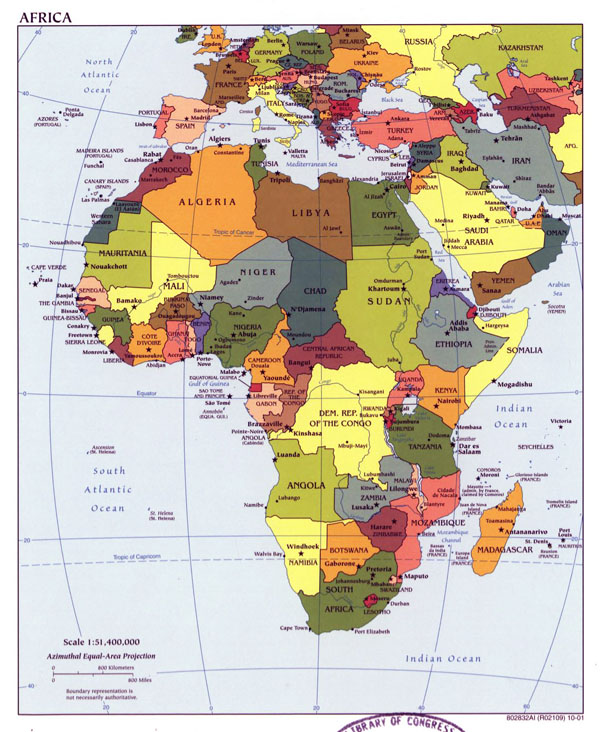 Detailed political map of Africa with capitals - 2001.
