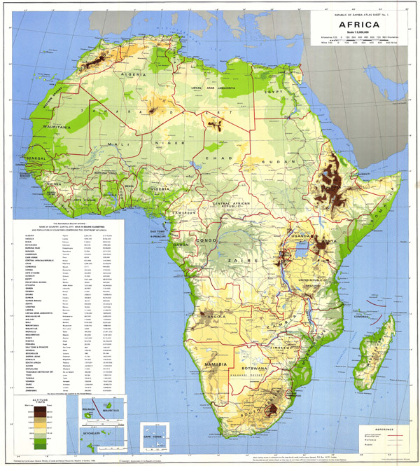 High resolution detailed physical and political map of Africa.