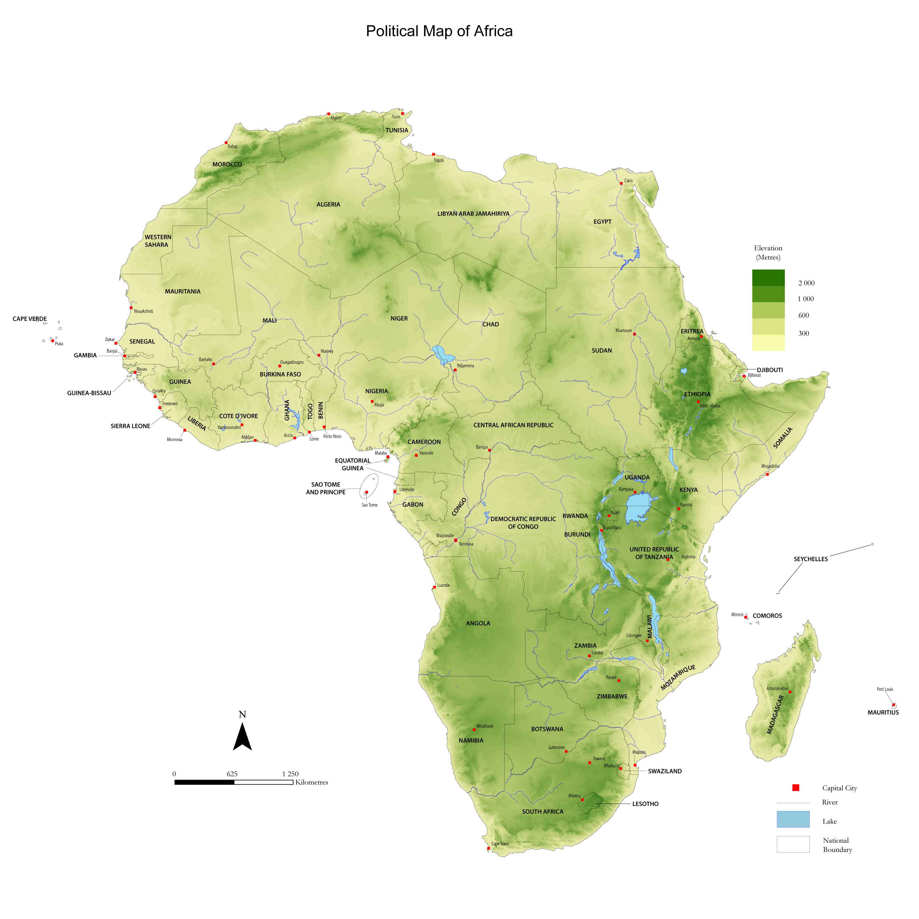High resolution detailed physical map of Africa. Africa high