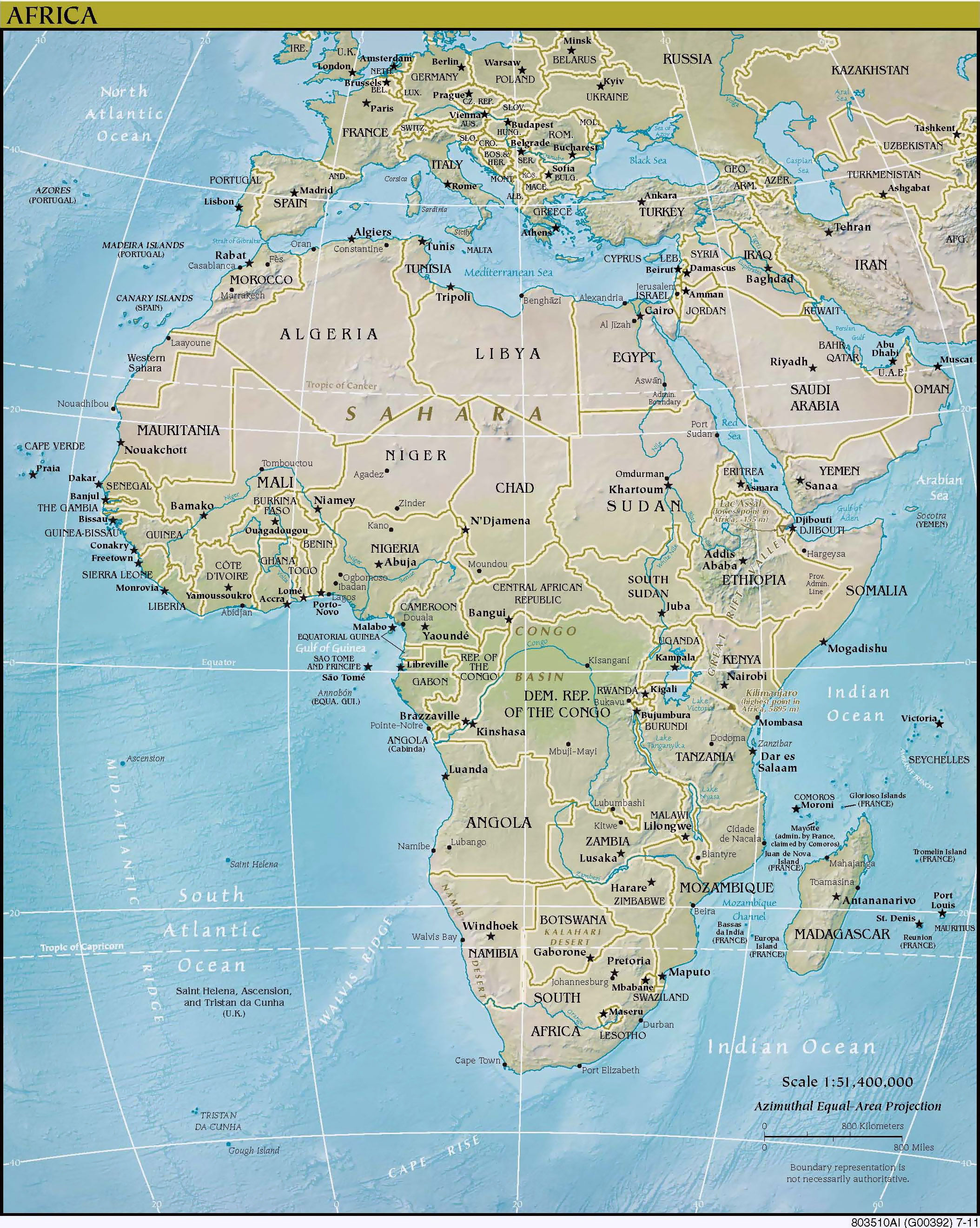 Political and relief map of africa africa detailed political and