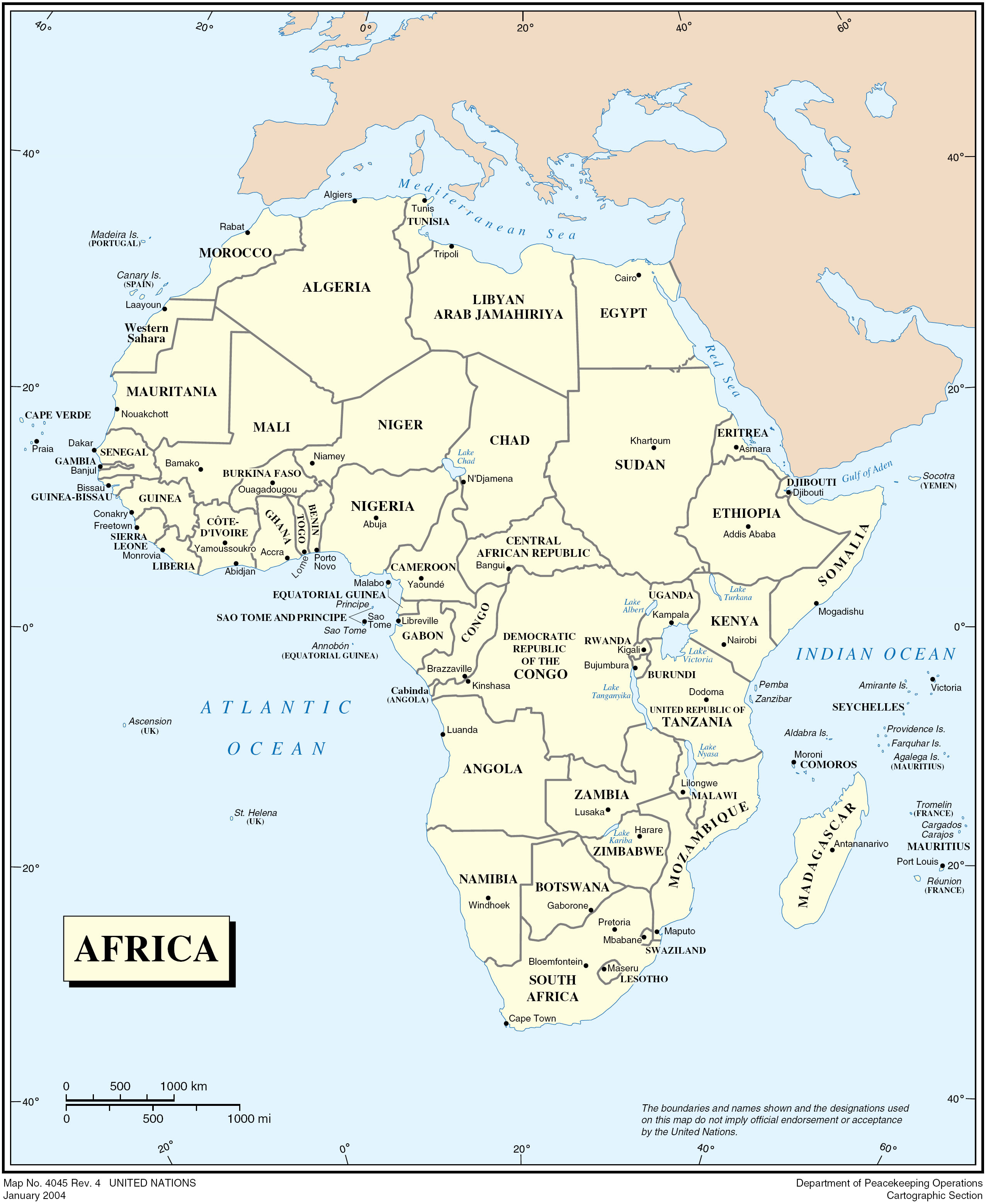 High resolution detailed political map of Africa Africa high