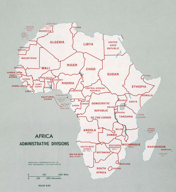 Large administrative divisions map of Africa - 1969.