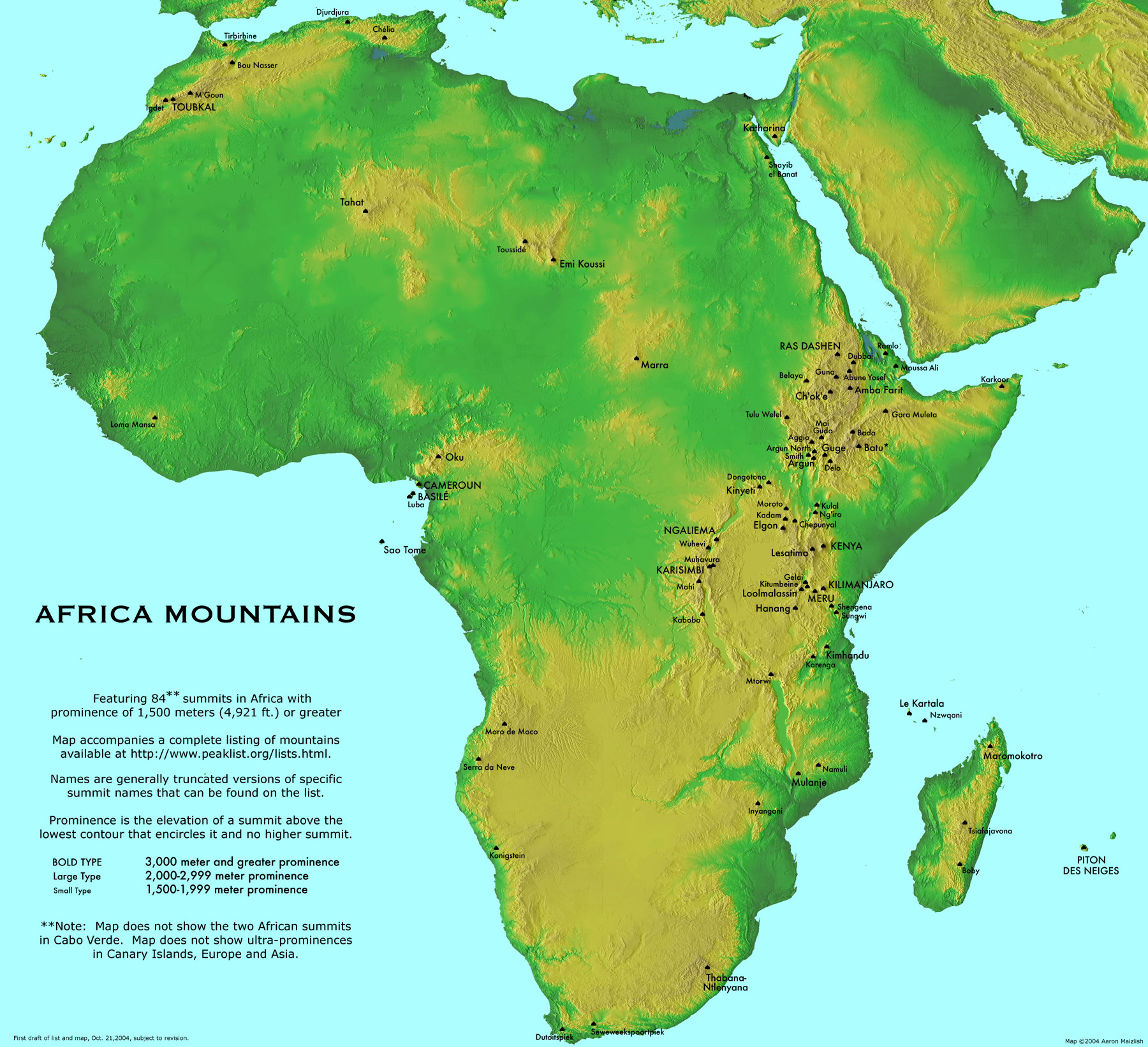 Large detailed Africa mountains map. Large detailed map of