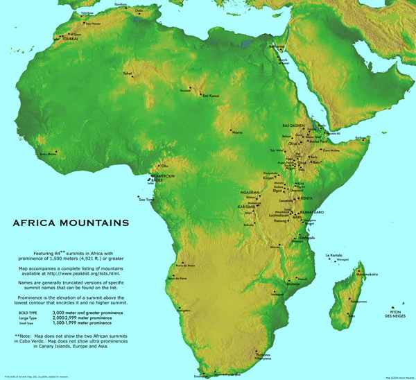 Large detailed Africa mountains map.