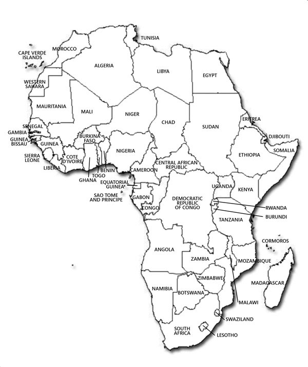 Large detailed contour political map of Africa.