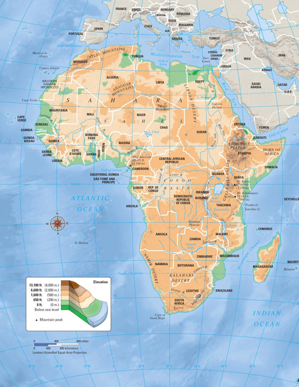 Large detailed elevation map of Africa.