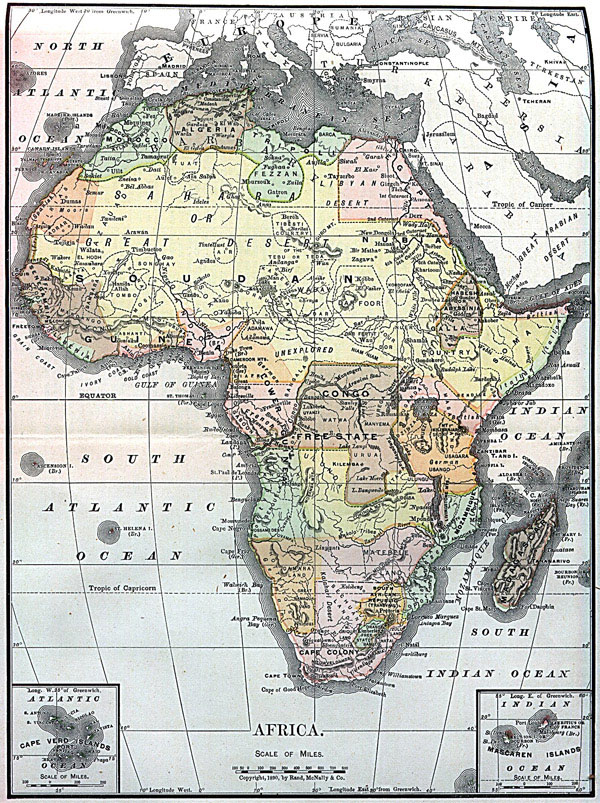 Large detailed old political map of Africa.