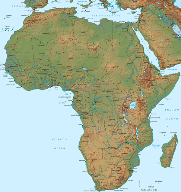 Large detailed physical map of Africa.