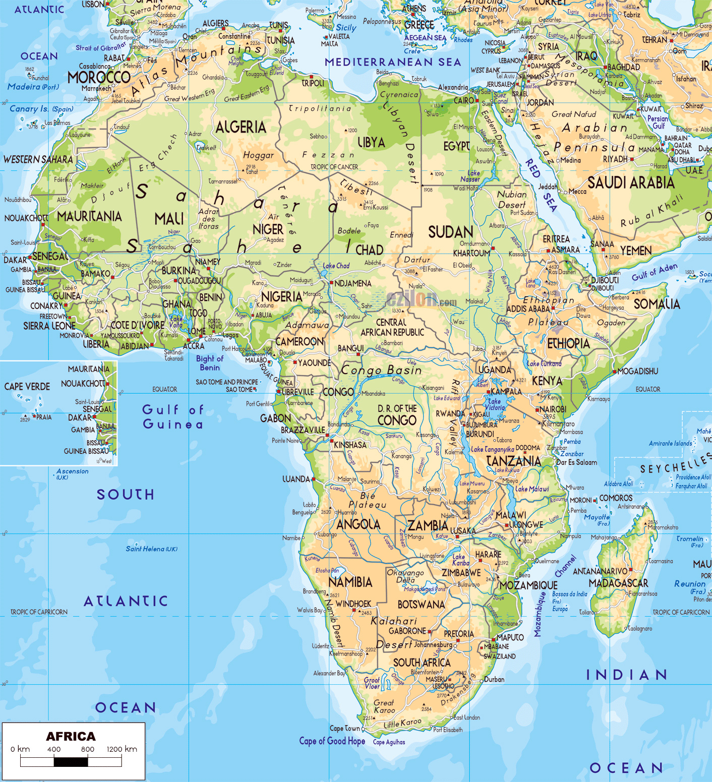 Large detailed physical map of Africa with roads and cities