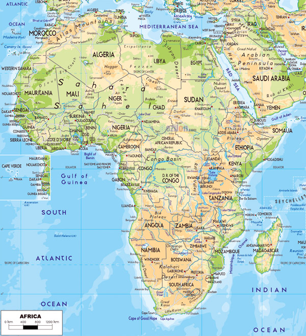 Large detailed physical map of Africa with roads and cities.