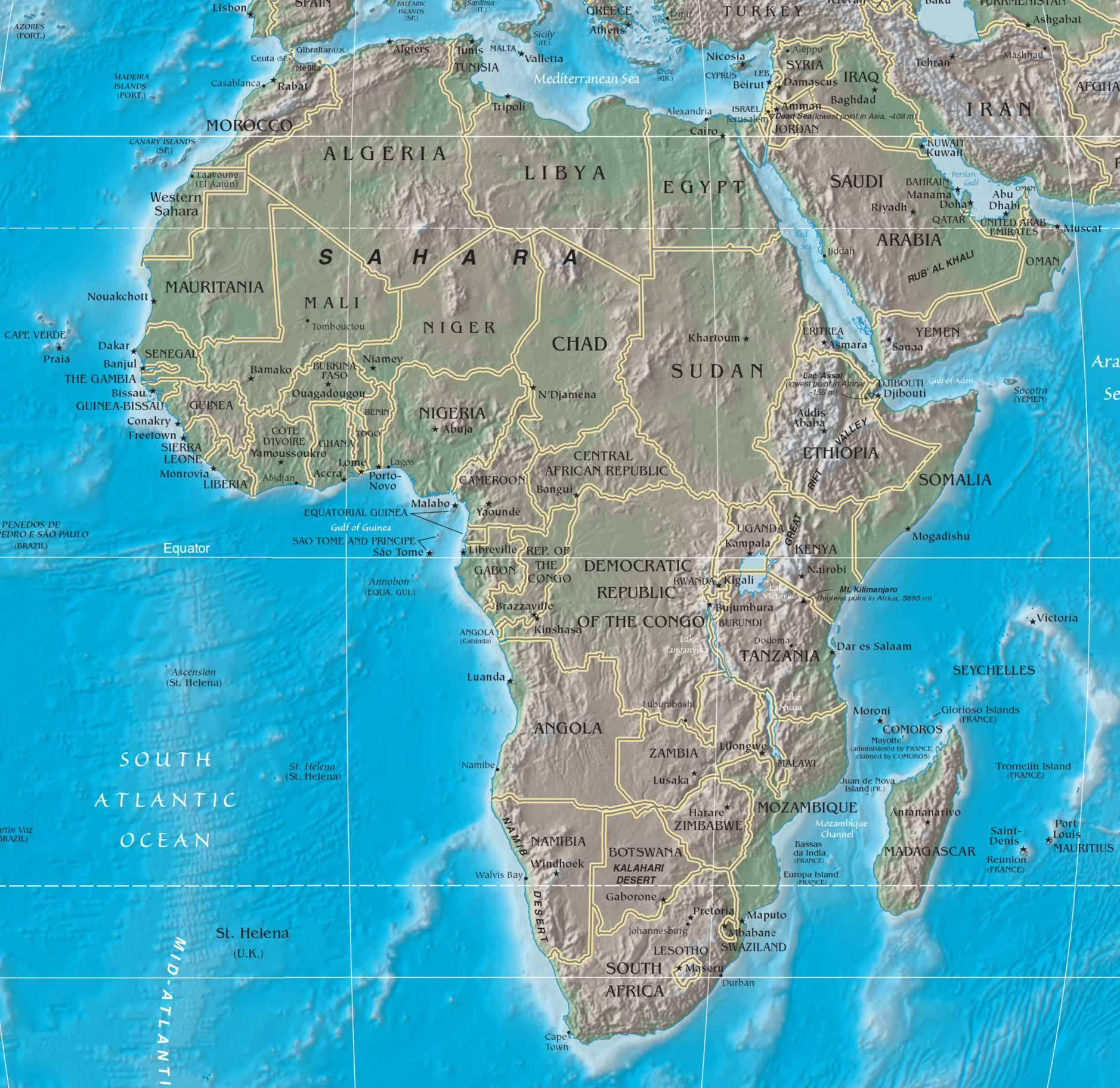 africa map political and physical Large Detailed Political And Physical Map Of Africa Africa Large africa map political and physical