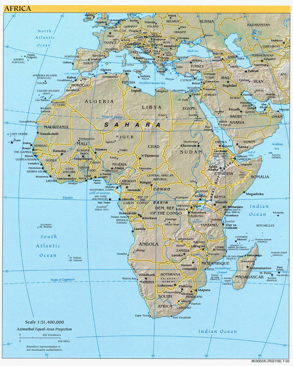 Large detailed political and relief map of Africa.
