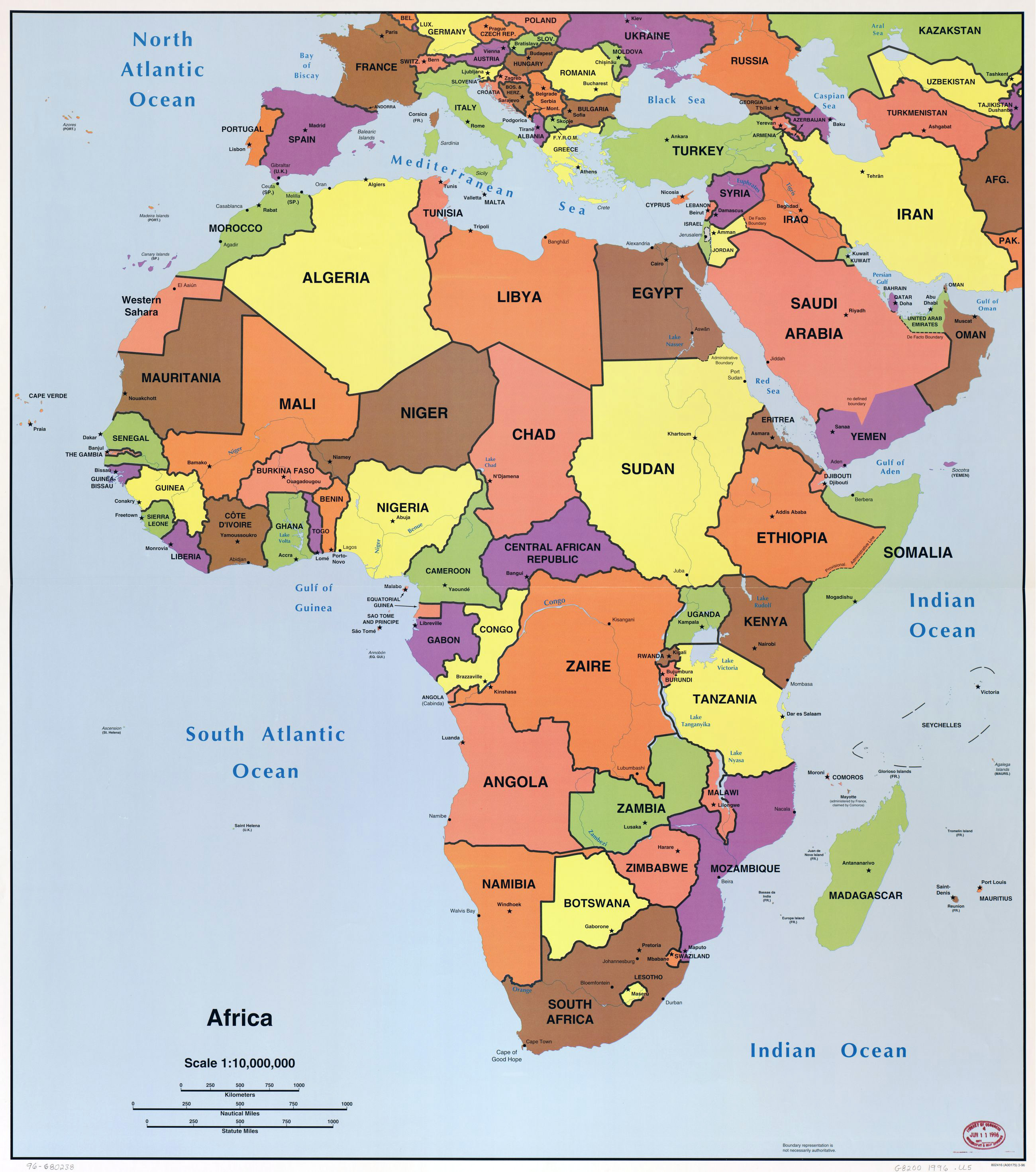 Large detailed political map of Africa with all capitals – 1996 ...