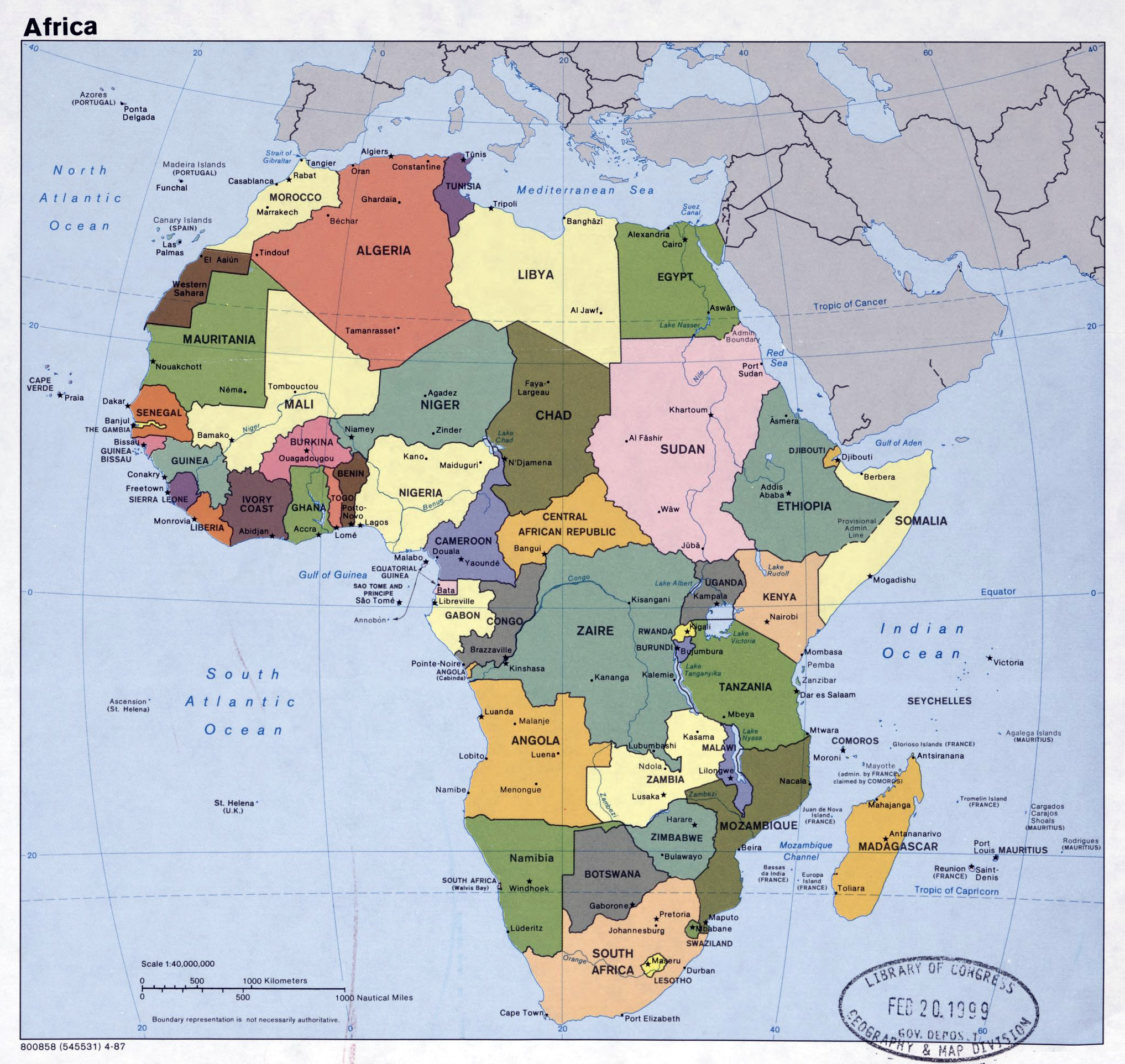 Large detailed political map of Africa with major cities and
