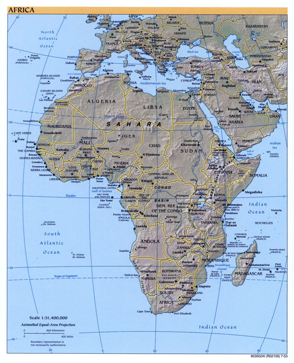 Large detailed political map of Africa with relief, capitals and major cities - 2003.