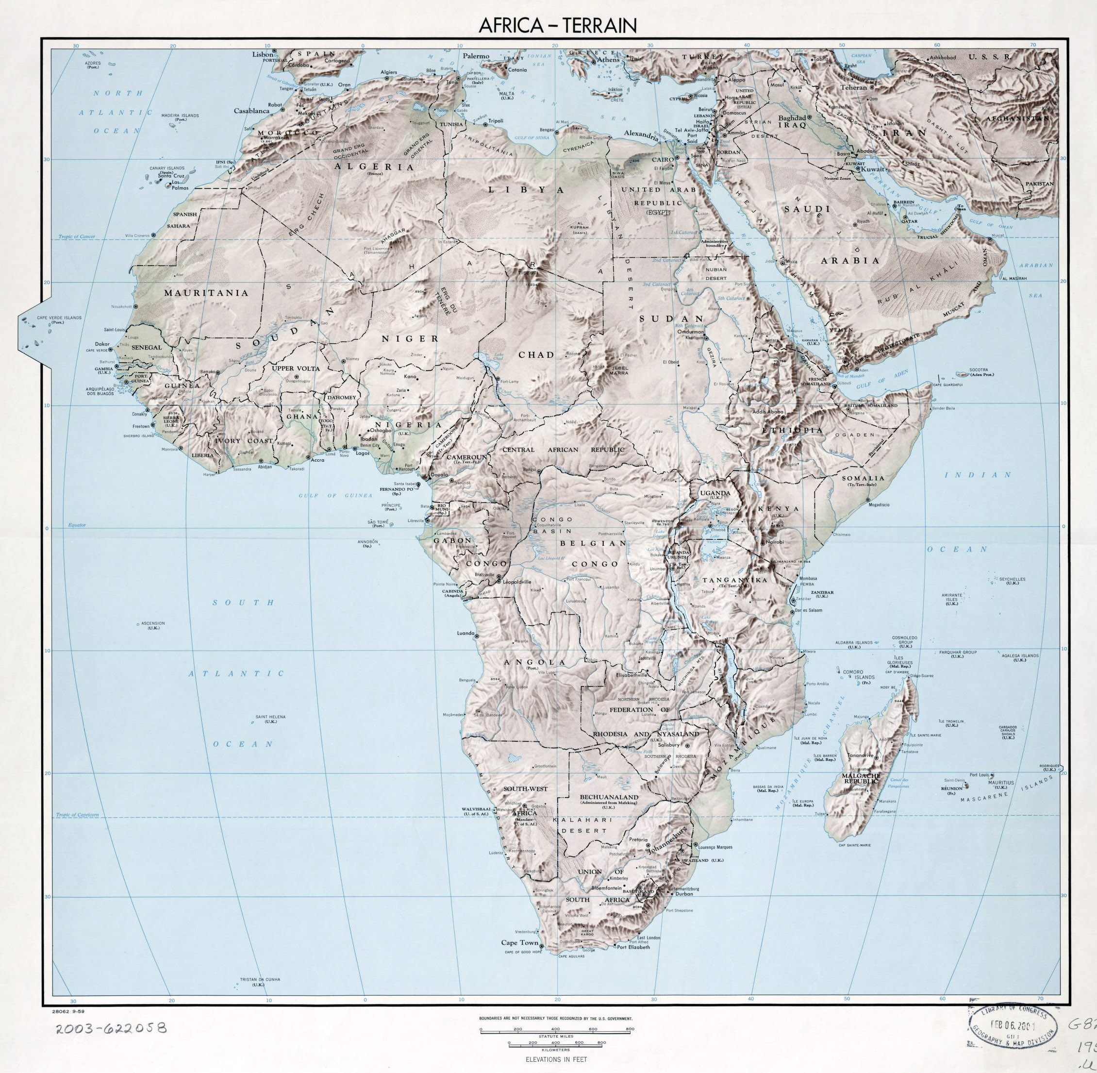 Large old terrain map of Africa – 1959 | Vidiani.| Maps of all
