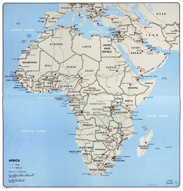 Large political map of Africa - 1968.