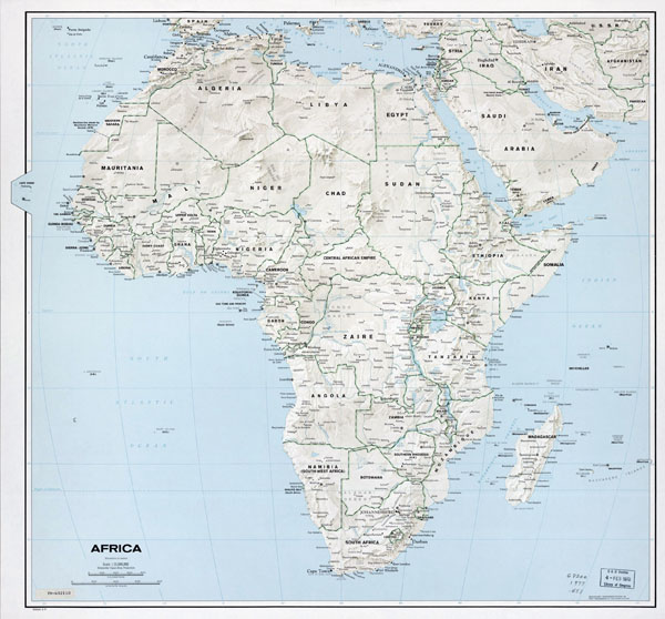 Large political map of Africa with relief - 1977.