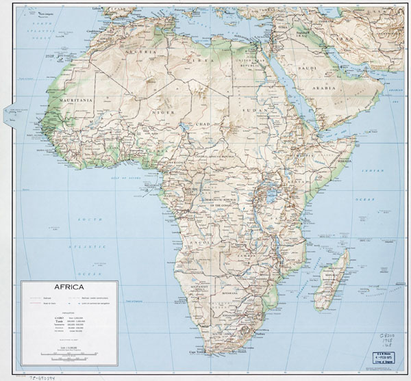Large political map of Africa with relief, roads, railroads and cities - 1968.