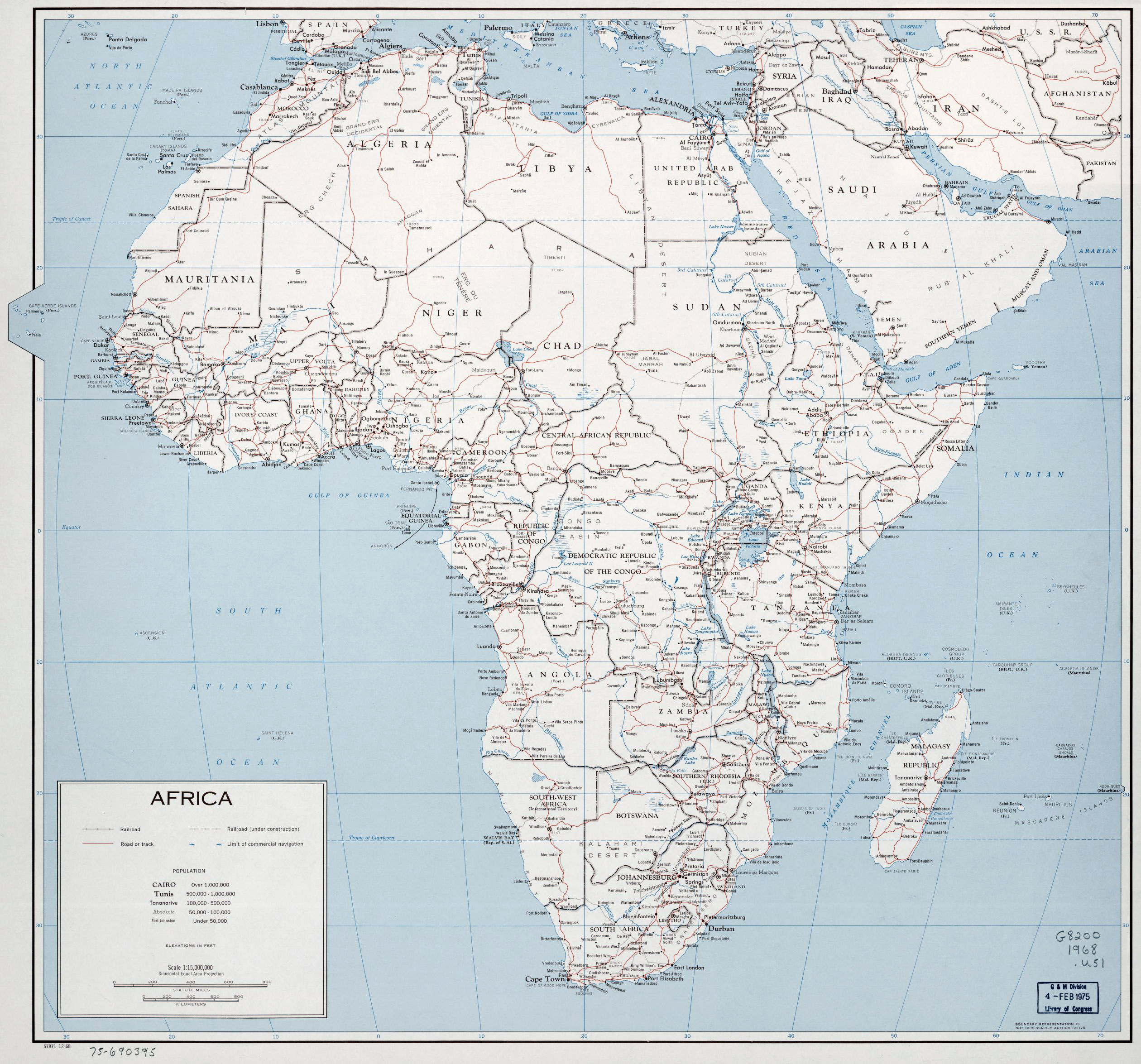 Large Political Map Of Africa With Roads Railroads And Cities