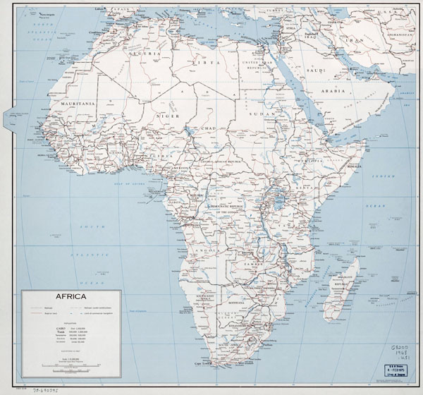 Large political map of Africa with roads, railroads and cities - 1968.
