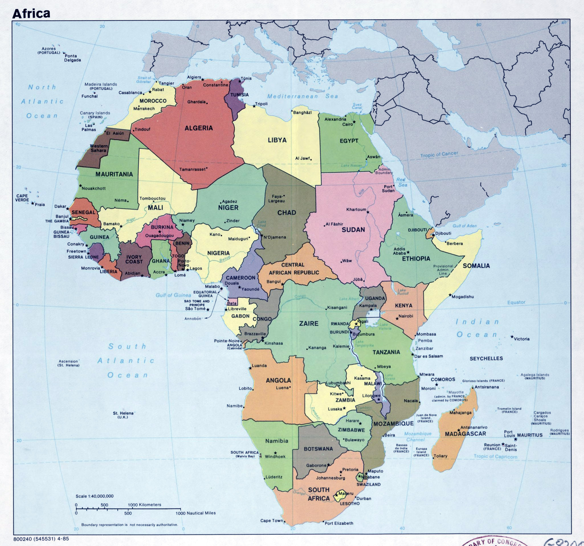 Large political map of Africa with major cities – 1985 ...