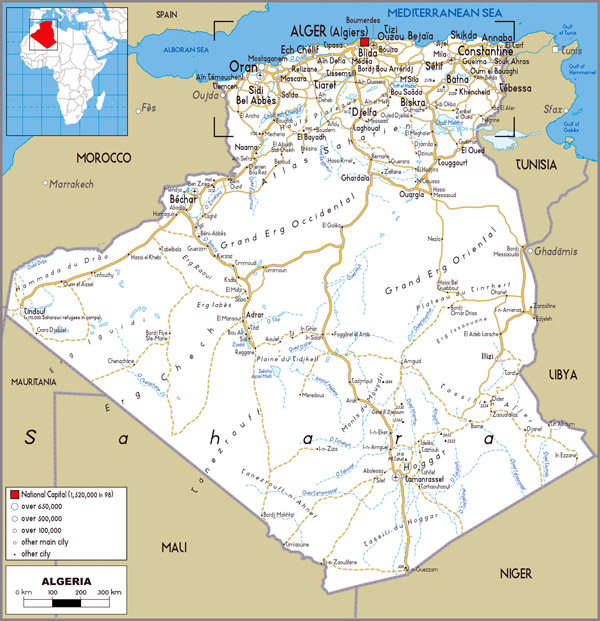 Algeria detailed political and road map. Detailed political and road map of Algeria.