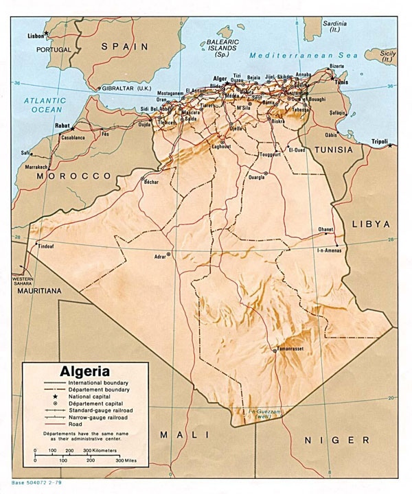 Detailed relief map of Algeria. Algeria detailed relief map.