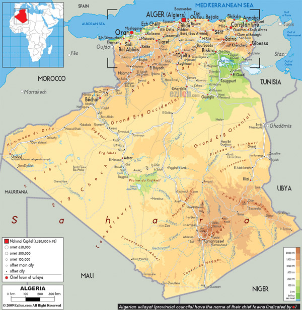 Large physical and road map of Algeria.