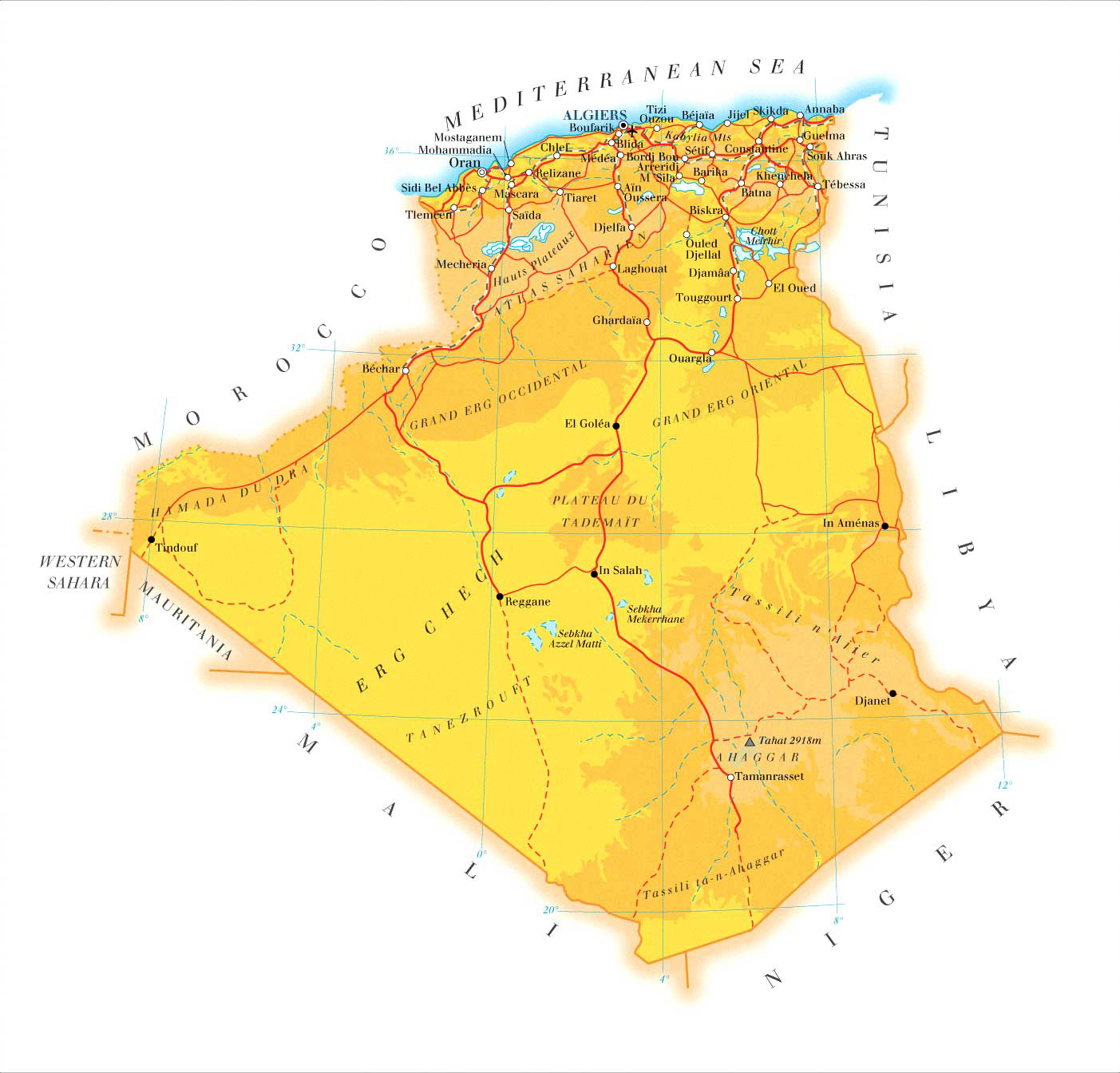 Large road map of Algeria with cities. Algeria large road map with on