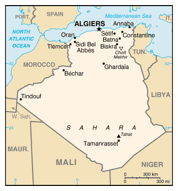 Map of Algeria. Algeria map.