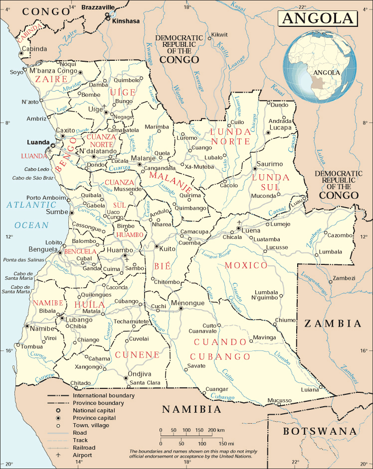 Detailed administrative map of Angola with cities and airports