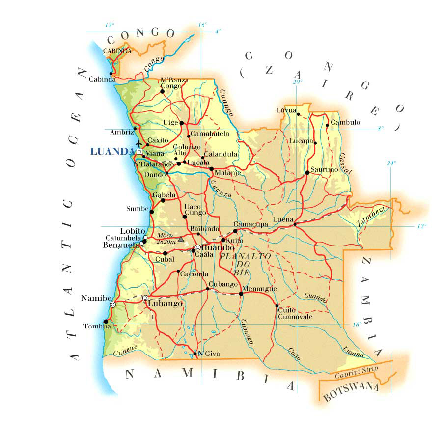 Detailed road and physical map of Angola Angola detailed road and