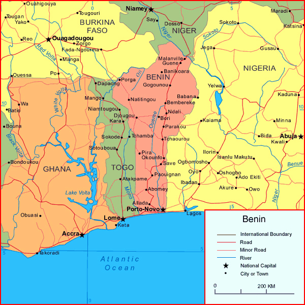 Detailed political and road map of Benin. Benin detailed political and road map.