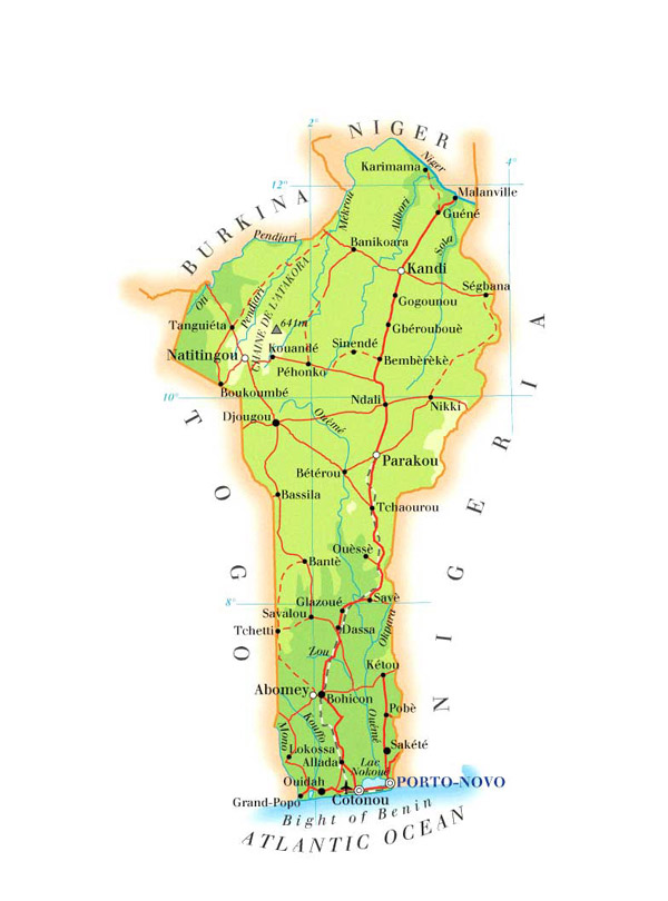 Detailed road map of Benin. Benin detailed road map.