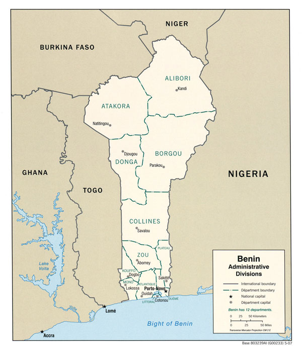 Large administrative map of Benin. Benin large administrative map.