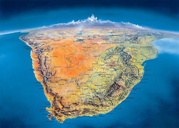 Southern Africa Panorama Map. Panorama Map of Southern Africa.