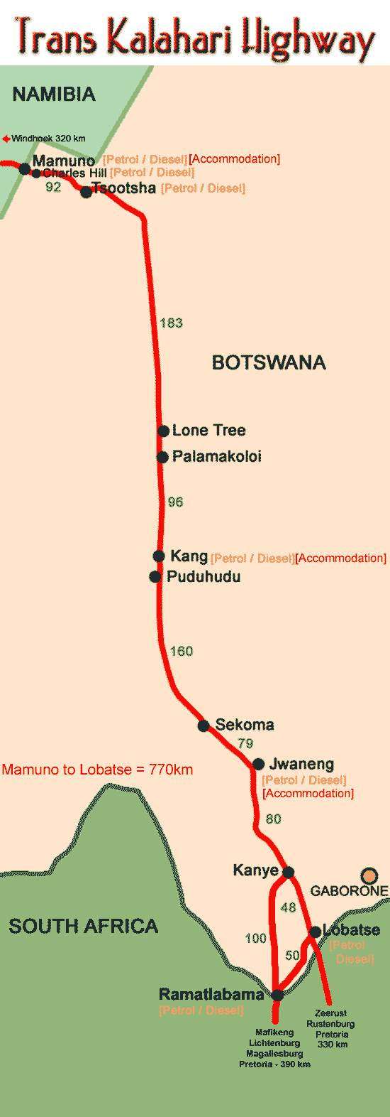 Trans-Kalahari highway map. Map of Trans-Kalahari highways.