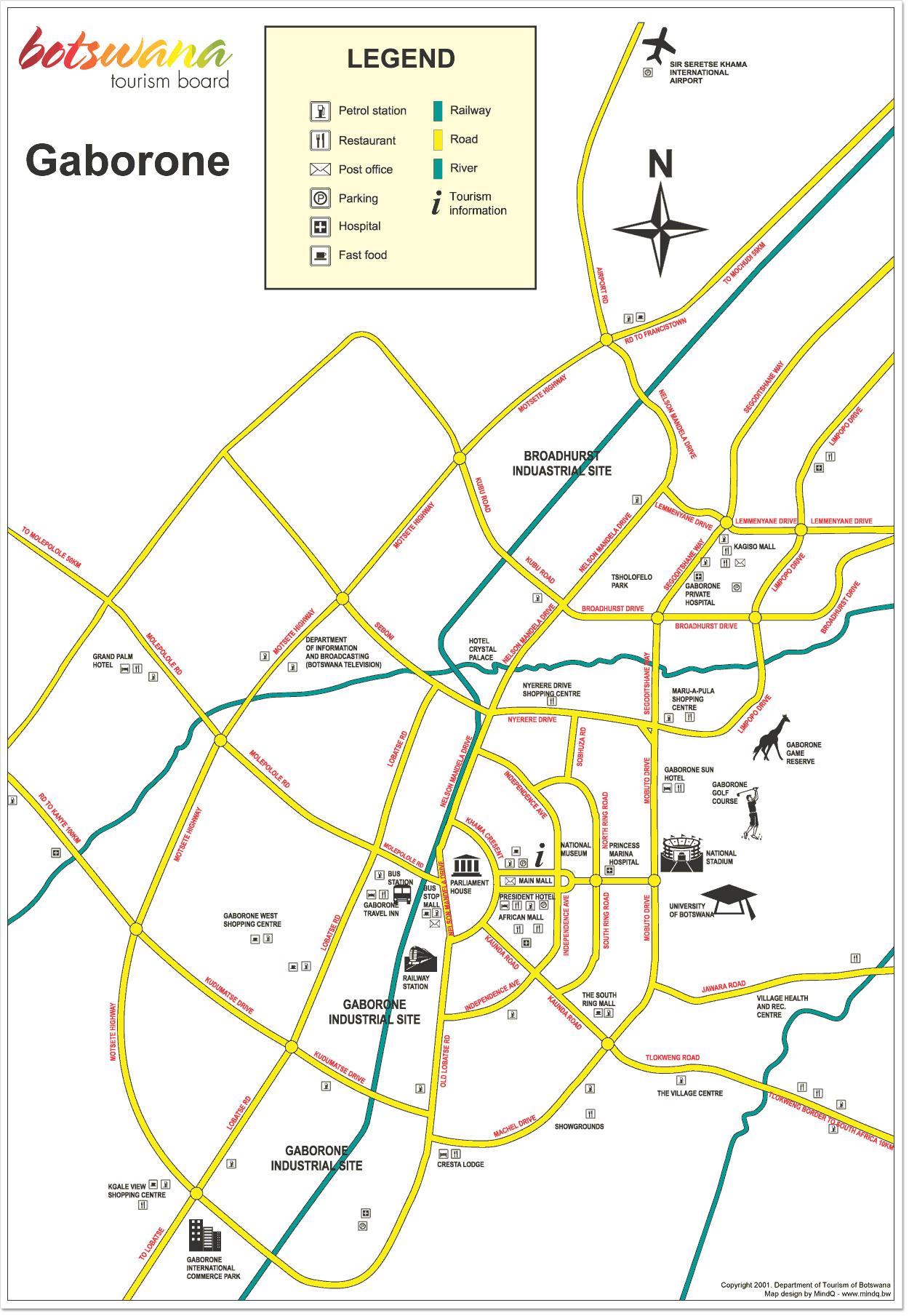 map of gaborone city botswana Detailed Map Of Gaborone City Gaborone City Detailed Map map of gaborone city botswana