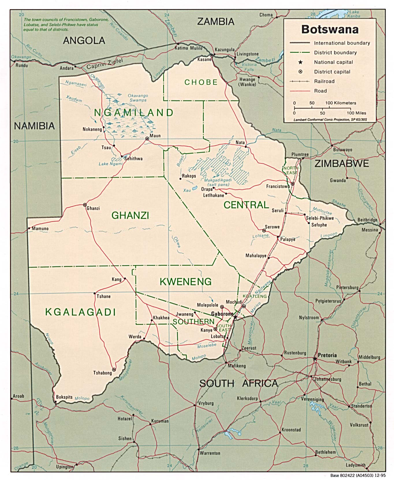 Detailed political and administrative map of Botswana Botswana