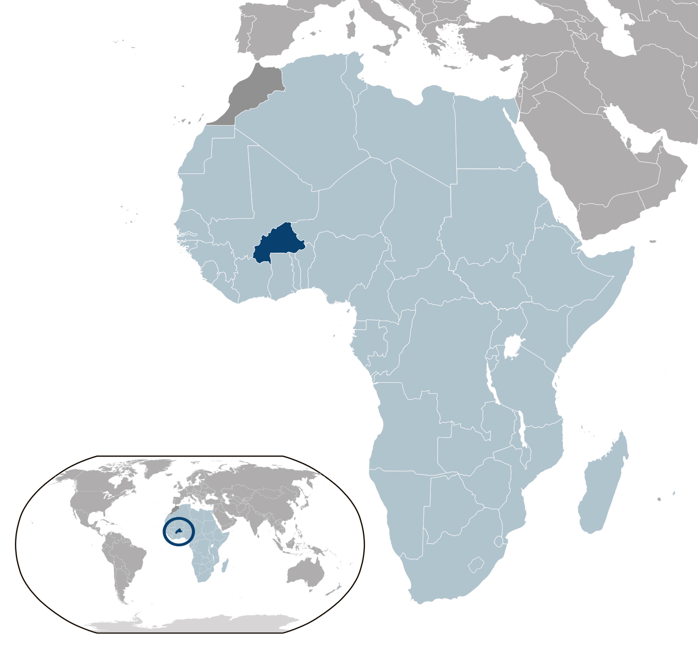 Burkina Faso Location Map On A Map Of The World Location Of