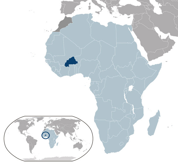 Burkina Faso location map on a map of the world.