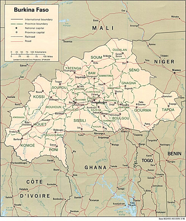 Detailed political and administrative map of Burkina Faso.