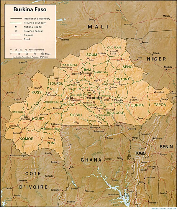 Large relief and administrative map of Burkina Faso.