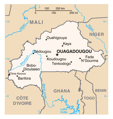 Map of Burkina Faso. Burkina Faso map.