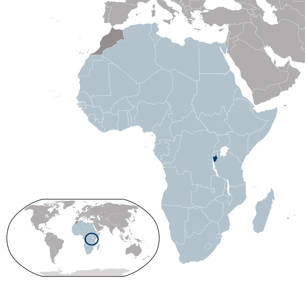Burundi detailed location map. Detailed location map of Burundi.