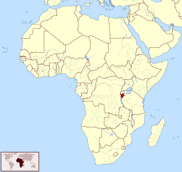 Burundi location map. Map of Burundi location.